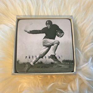 Pottery Barn Black & White Football Coasters